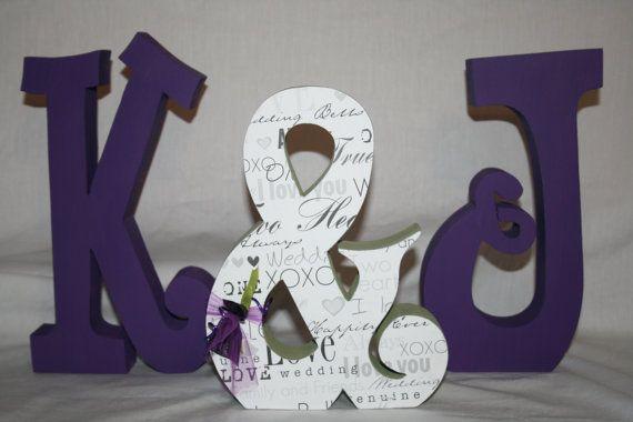 @Monique Pires  Purple wedding decoration set of three by PaintedPoshDesigns, $44.95