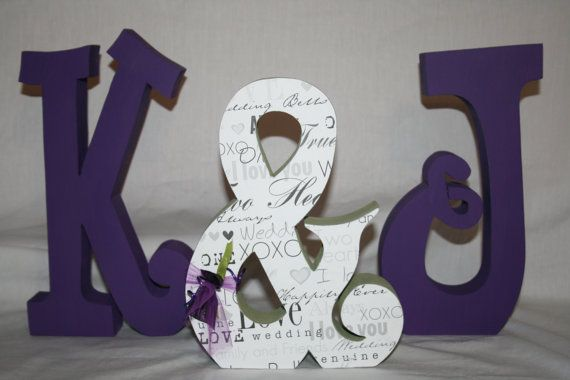 Purple wedding decoration set of three by PaintedPoshDesigns, $44.95