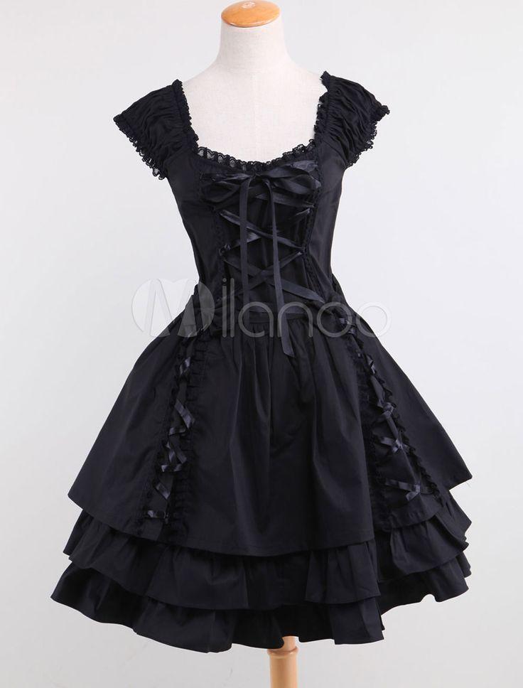 Classic Black Layered Lace Up Cotton Lolita Dress   Milanoo.com