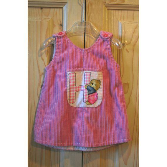 scamiciato in velluto rosa per bimba 1 anno con tasca applicata decorata con motivo ad orsetto