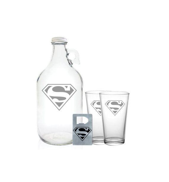 Superman Growler 64oz Beer Growler with Superman by PeerlessCustom, $26.99