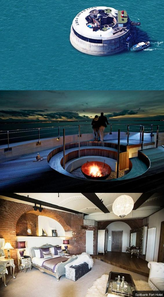 This old WWI Fort is now a luxury sea hotel.
