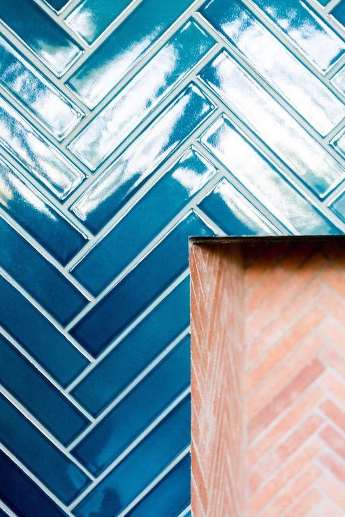 Blue Herringbone Tiles