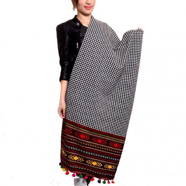 Kashmir Villa Black White Color Knitting Stole Enriched with New Kullu Pattern