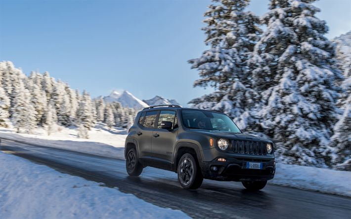 Download wallpapers Jeep Renegade, road, winter, 2018 cars, SUVs, black Renegade, Jeep