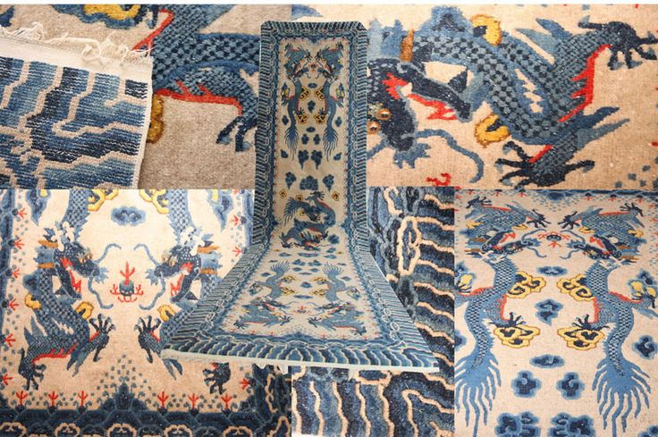Antique Chinese runner rug made circa 1920 in the cream ground with two sinuous dragons either sides and one in the middle in blue and yellow, chasing flaming pearl surrounded by clouds, scrolling vines and secluded with interlinked borders. Measuring 355x92cm 11 ft. 6 in. x 3 ft. and in very good condition with both end Kilims in tact.