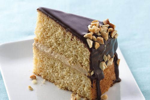 Peanut Butter Boston Cream Cake - peanut butter cookie dough is mixed into the cake batter ...