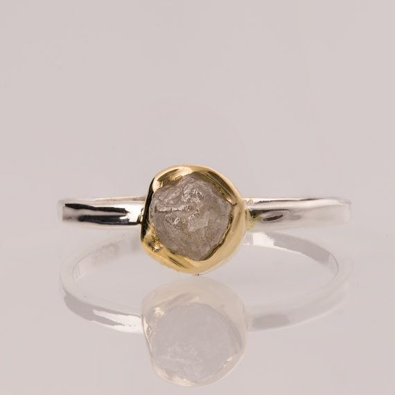 Raw Engagement Ring, 18K Gold and  Rough Diamond engagement ring, Unique Engagement ring, rough diamond ring, Alternative Engagement Ring