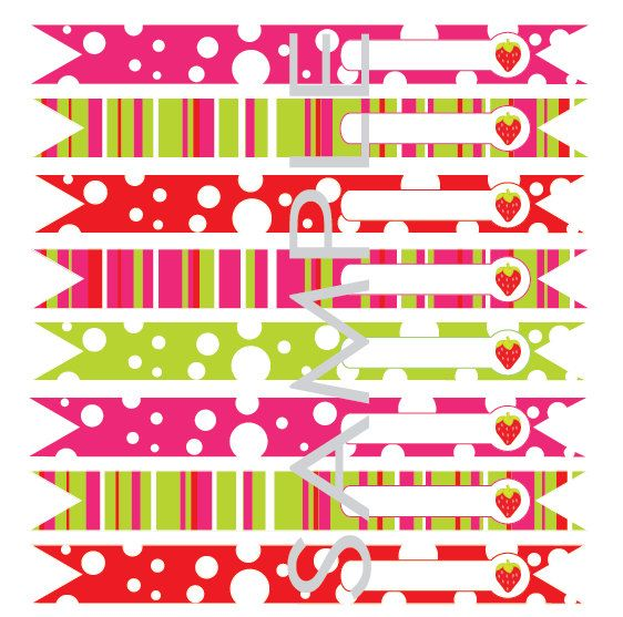 PRINTABLE Bright Strawberry Party Flag Toppers por ladybuglabels, $3.00