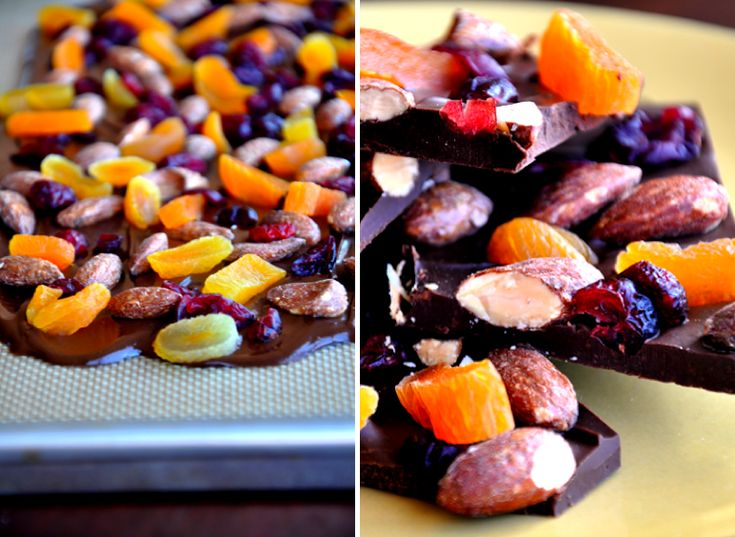 Semi-sweet chocolate bark with salted almonds, dried cranberries and dried apricots. Photo by KAS.