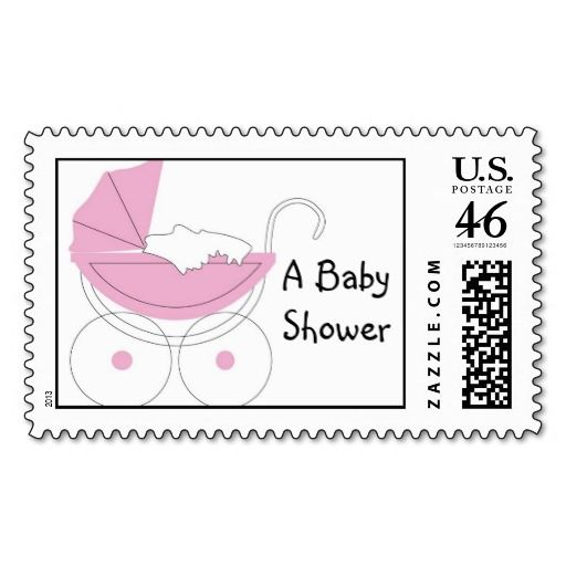 Delightful Baby Shower Stroller Postage Stamp
