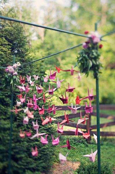 Wow. Fantastic idea for wedding since 1000 origami cranes is on the bucket list as well.