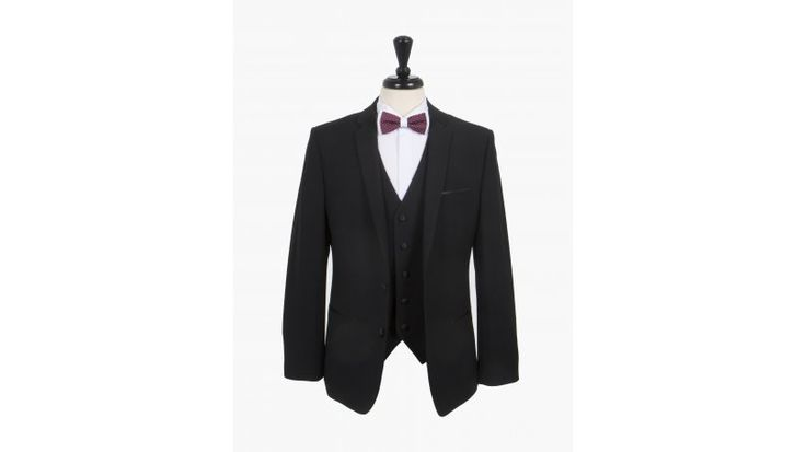Black Three Piece Dinner Suit - Is there anything more dapper than a dinner suit? Look the part in this stunning and fashionable black three piece dinner suit from the Harry Brown collection. This suit is slim fit and therefore we recommend that you use size guides and consider sizing up to get the desired look. This great quality suit includes a jacket, matching waistcoat and slim leg trousers.