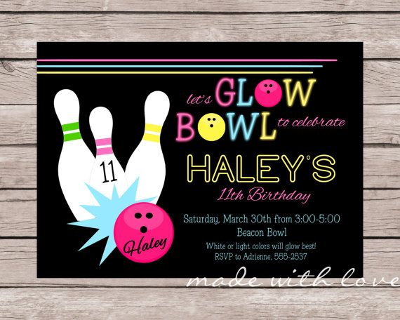90 best Bowling Birthday Party images on Pinterest Boxes - bowling invitation