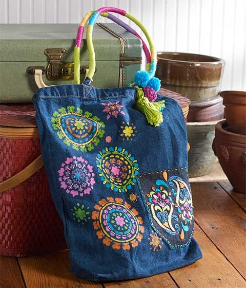 DIY Bohemian Festival Tote Bag using colorful threats and Bucilla needle-stitching patterns.