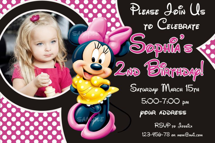 Minnie mouse Birthday Invitation, Minnie mouse Invitation, Minnie mouse Birthday card- Digital file by SuperBirthdayParty on Etsy https://www.etsy.com/listing/182060027/minnie-mouse-birthday-invitation-minnie