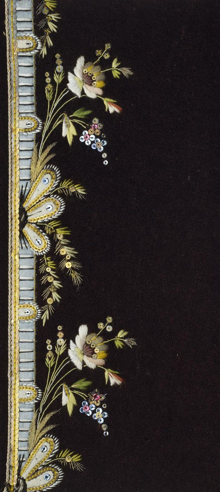 Embroidery Sample (France), late 18th, for Russian costumers