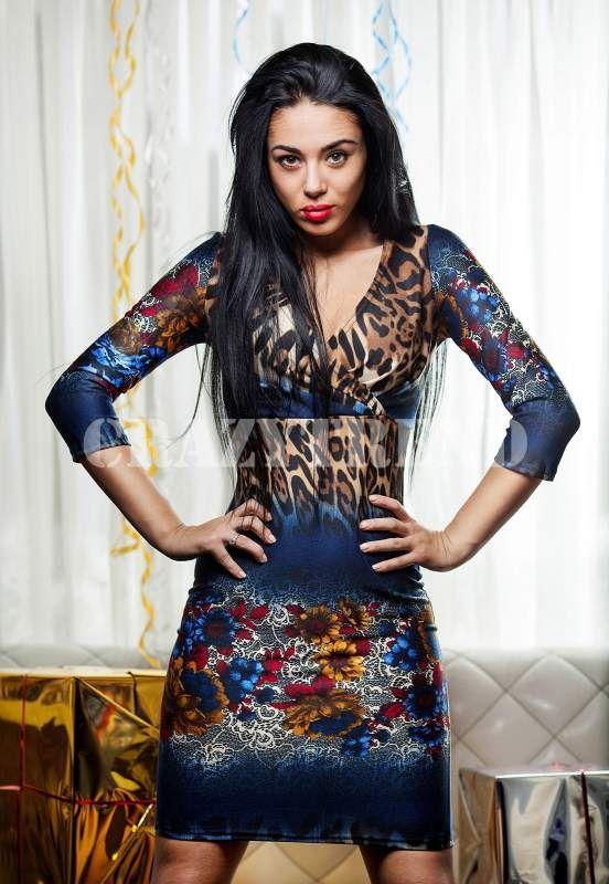 Платье K.M. Красный леопард