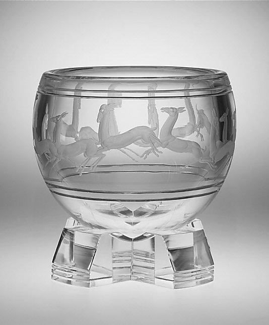 "1935 ""Gazelle"" etched by Sidney Biehler Waugh, Corning Glass Works, Steuben Division (Corning, New York)"