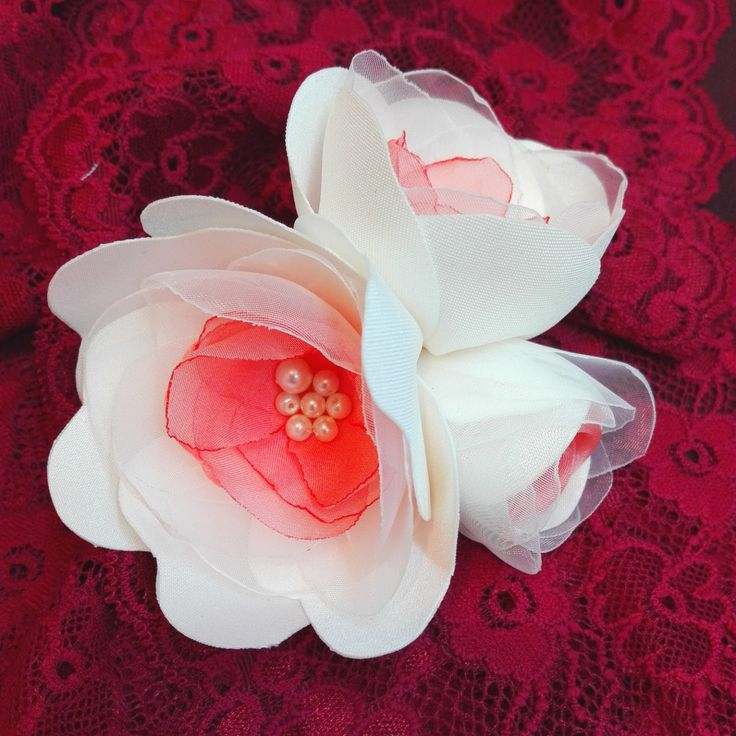 Bouquet of Flowers Hair Clip, Ivory and Pink Hair Flowers, Bridal Hair Accessory by AnaManoleAtelier on Etsy