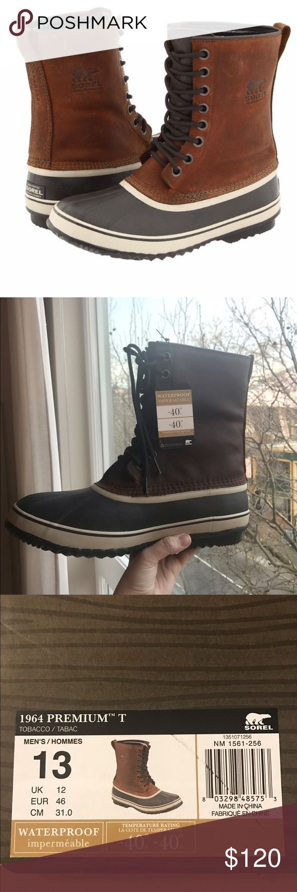 Sorel Boots - Men's, Waterproof Brand-new men's Sorel boots. Never worn! 1964 Premium T style. Waterproof and great for snow. Sorel Shoes Boots