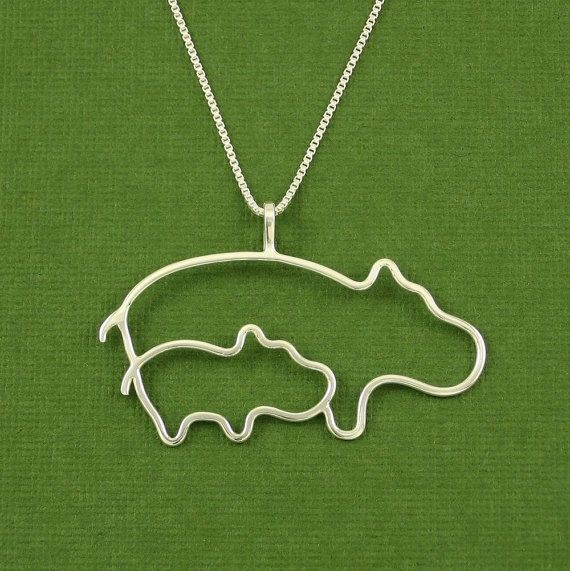 Hippo Necklace Mother and Baby Sterling Silver Box by Dragonfly65, $60.00