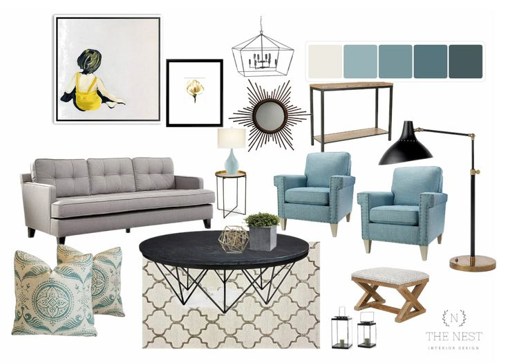 Lively hues of teal and yellow living room / Design board