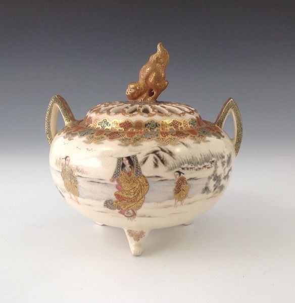 OnlineGalleries.com - Satsuma pottery Koro & cover. Meiji Period.