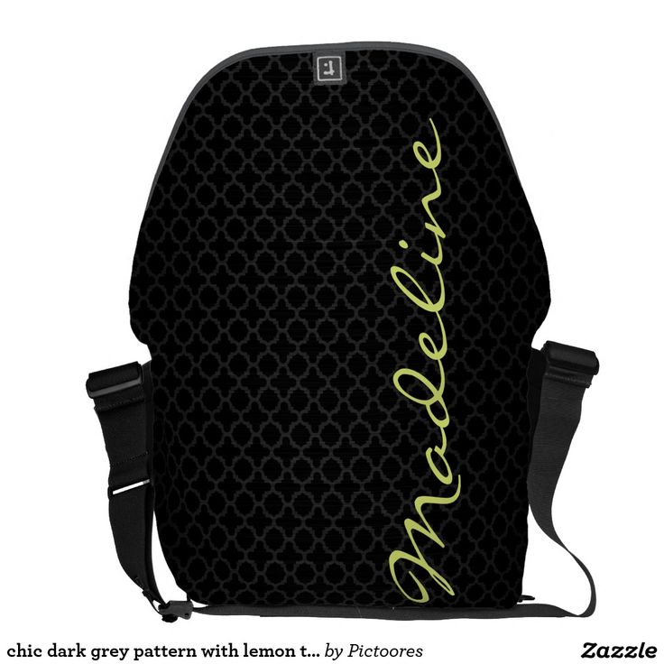 chic dark grey pattern with lemon text messenger bag