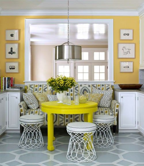 Painted floor, yellow table, wonderful breakfast nook