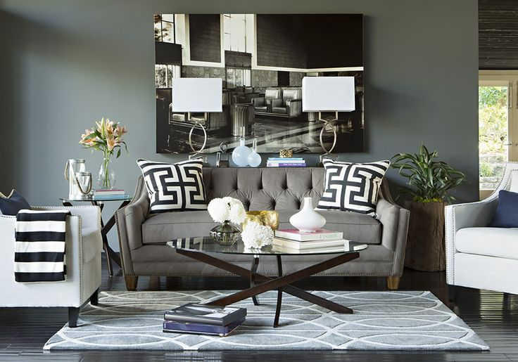 Jeff Lewis Design - Rule of 3 - no more than 3 patterns in a room. Pillows, throw, and rug add pattern to a room and when you're tired of it - change those items! Simple & easy redecorating tip from JL.