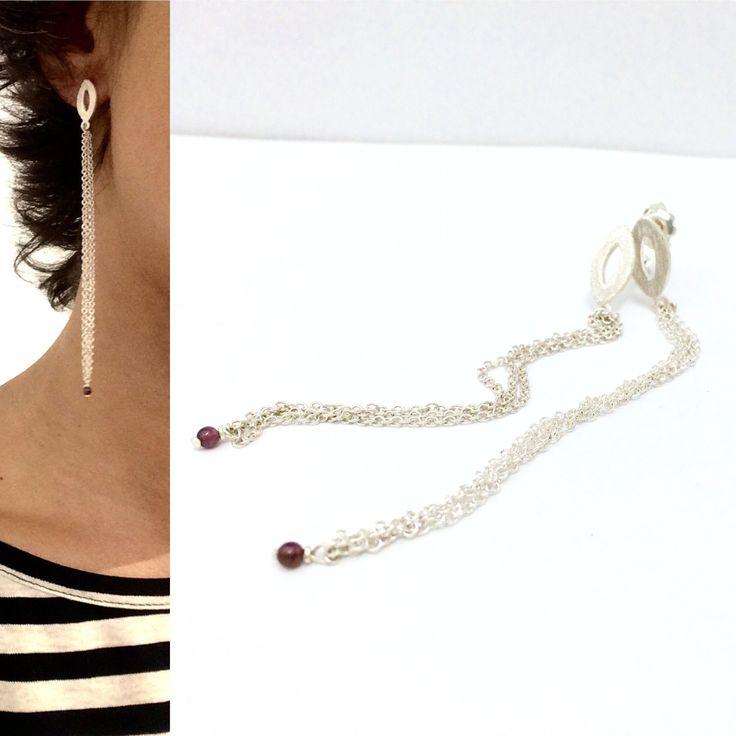 Stones-AdHoc, 2015. Earrings, silver925, garnet.