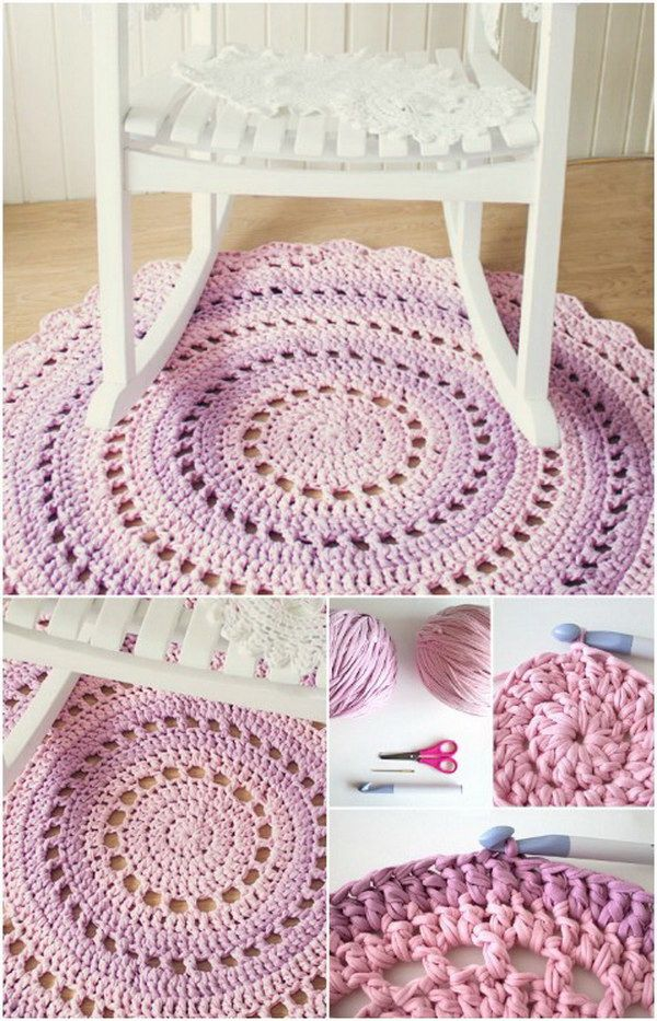 Crochet T-shirt Yarn Rug. Learn how to make a round rug using repurposed T shirt yarn as a cozy addition to any room in your home.