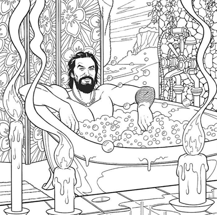 A Jason Momoa Coloring Book Exists And It Is Supposed To Ease Your Stress Coloring Books Jason Momoa Line Art Drawings