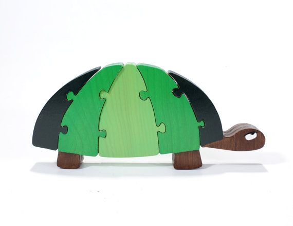 Green Turtle Decor and Toy Puzzle