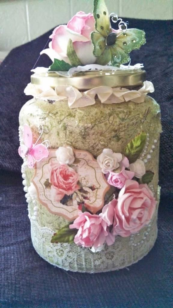 Large pink jar with butterfly