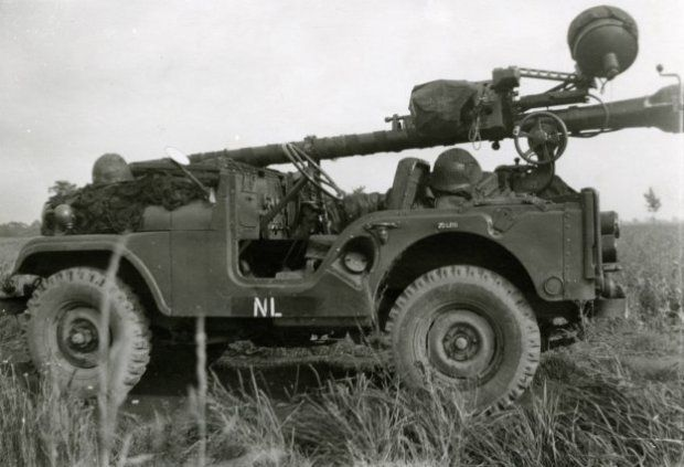 Netherlands Army M38A1C with M40A1 106mm recoilless rifle