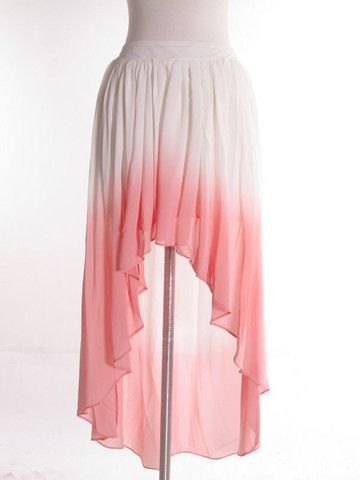 Dawn to Dusk Ombré Hi Low Skirt - White + Pink - $40.00 | Daily Chic Bottoms | International Shipping