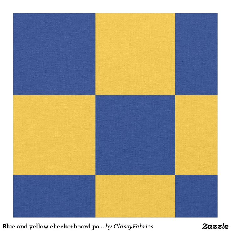 Blue and yellow checkerboard pattern fabric