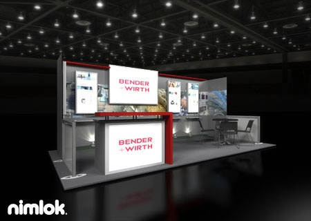 Nimlok Designs Custom Modular Trade Show Booths And Interior Design Exhibits For Bender Wirth We Showcased Their Products With A 10x20 Sho