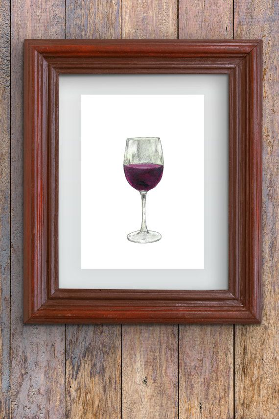 Wine Glass  Watercolor painting  instant digital by Penfood
