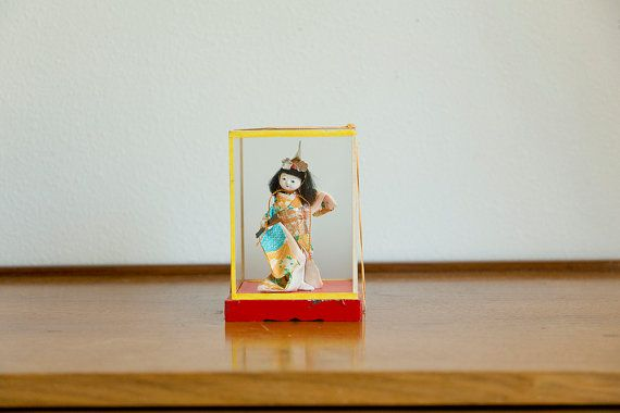 Vintage Japanese doll in glass box by MicroscopeTelescope on Etsy