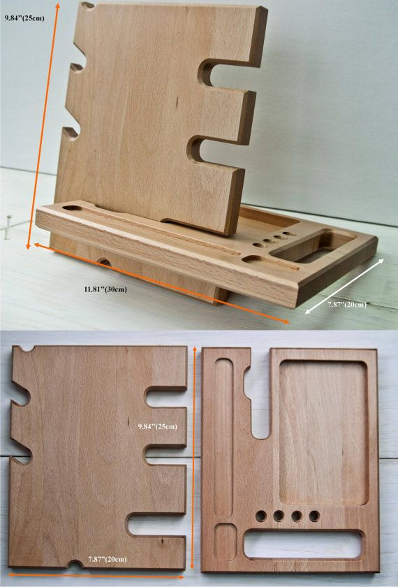 Wooden stand desk accessories wood iphone dock от DibrovaStore