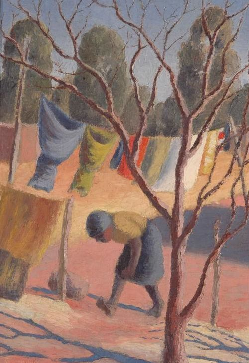 By Gerard Sekoto (1913-1993), Wash Day, oil on canvas. (South African,)