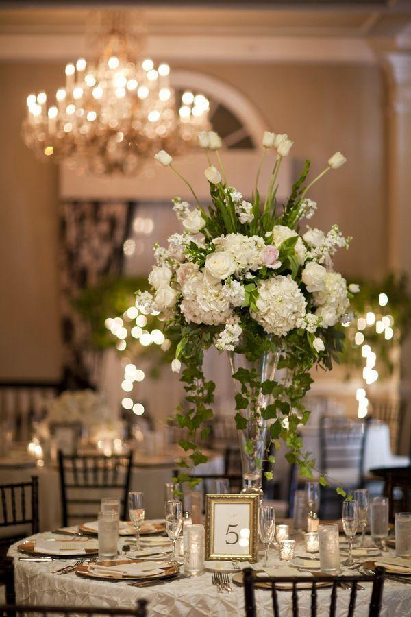 Tall White Wedding Centerpiece