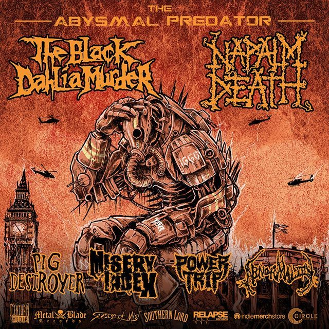 This Sunday, @pigdestroyerofficial kick off their short run of exclusive concerts on The Abysmal Predator Tour supporting @napalmdeath_fc and @theblackdahliamurder_official! Do not miss this other-worldly lineup. All Pig Destroyer dates below:  Nov 13 Baltimore, MD Baltimore Soundstage Nov 14 Boston, MA Brighton Music Hall Nov 15 New York, NY Le Poisson Rouge  #pigdestroyer #absymalpredatortour #grindcore