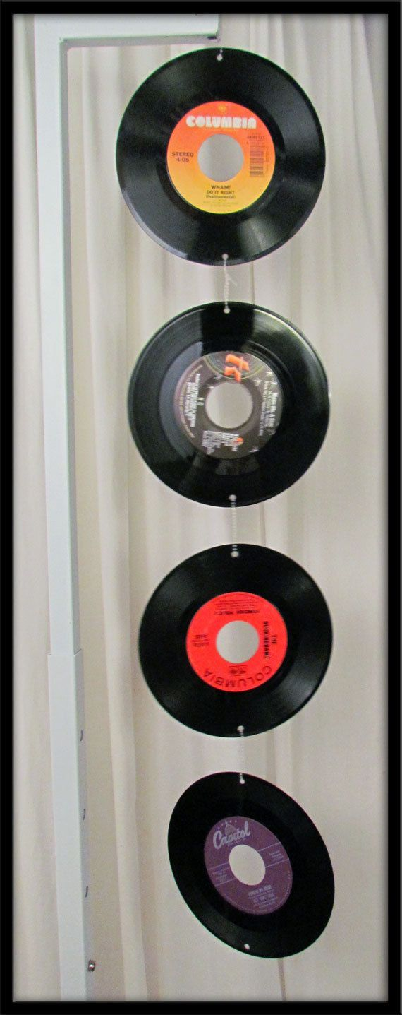 Vintage vinyl 45 record art music mobile unique gift for Vinyl records decorations for wall