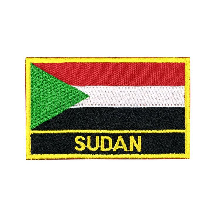 Sudan Flag Patch Embroidered Patch Gold Border Iron On patch Sew on Patch Bag Patchmeet you on Fleckenworld.com