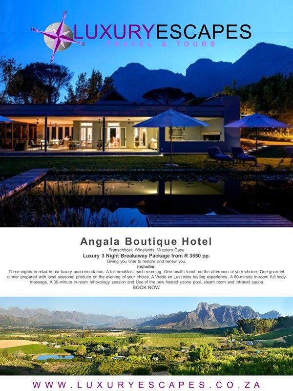 Angala Boutique Hotel, Franschhoek Winelands, Western Cape. Luxury 3 Night Breakaway Package from R 3550 pp. Giving you time to restore and renew you. Includes: Three nights to relax in our luxury accommodation, A full breakfast each morning, One health lunch on the afternoon of your choice, One gourmet dinner prepared with local seasonal produce on the evening of your choice, A Vrede en Lust wine tasting experience, A 60-minute in-room full body massage, A 30-minute in-room reflexology…