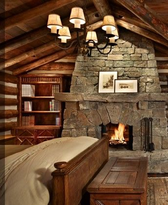 fireplace in the bedroom, love. plus the cabin like feel.